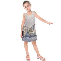 Venice Small Town Watercolor Kids  Sleeveless Dress