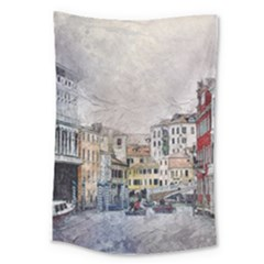 Venice Small Town Watercolor Large Tapestry by BangZart