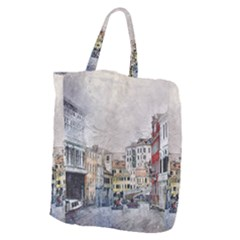 Venice Small Town Watercolor Giant Grocery Zipper Tote by BangZart