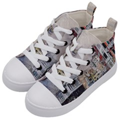 Venice Small Town Watercolor Kid s Mid Top Canvas Sneakers by BangZart