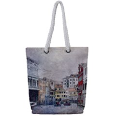 Venice Small Town Watercolor Full Print Rope Handle Tote (small) by BangZart