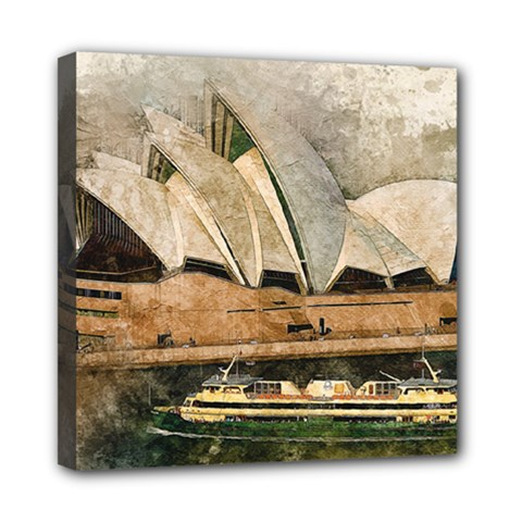 Sydney The Opera House Watercolor Mini Canvas 8  X 8