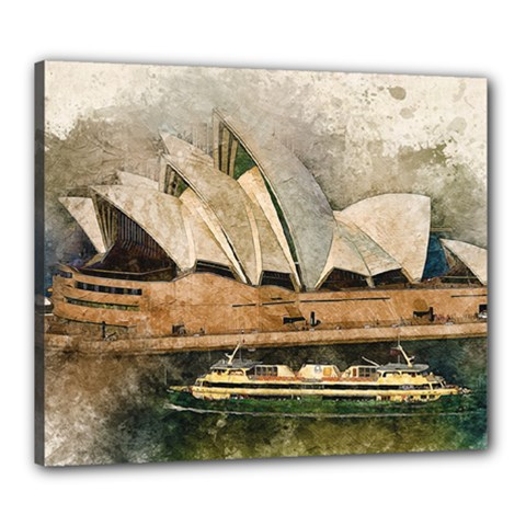 Sydney The Opera House Watercolor Canvas 24  X 20