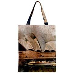 Sydney The Opera House Watercolor Zipper Classic Tote Bag