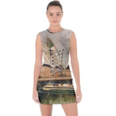 Sydney The Opera House Watercolor Lace Up Front Bodycon Dress