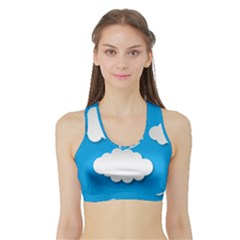 Clouds Sky Background Comic Sports Bra With Border