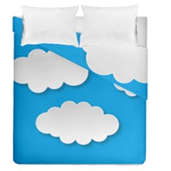 Clouds Sky Background Comic Duvet Cover Double Side (queen Size)