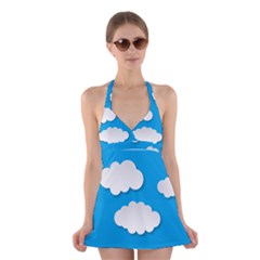 Clouds Sky Background Comic Halter Dress Swimsuit