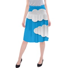 Clouds Sky Background Comic Midi Beach Skirt