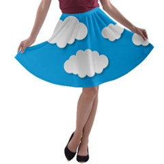 Clouds Sky Background Comic A Line Skater Skirt