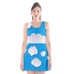 Clouds Sky Background Comic Scoop Neck Skater Dress