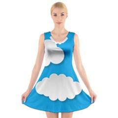 Clouds Sky Background Comic V Neck Sleeveless Skater Dress