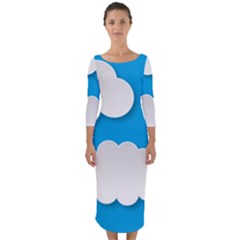 Clouds Sky Background Comic Quarter Sleeve Midi Bodycon Dress