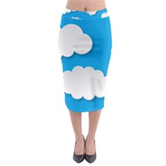 Clouds Sky Background Comic Midi Pencil Skirt