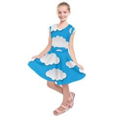 Clouds Sky Background Comic Kids  Short Sleeve Dress