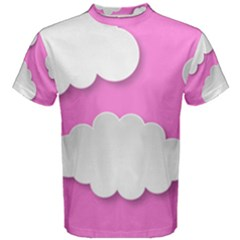 Clouds Sky Pink Comic Background Men s Cotton Tee