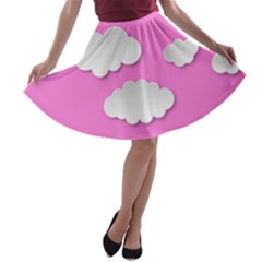 Clouds Sky Pink Comic Background A Line Skater Skirt
