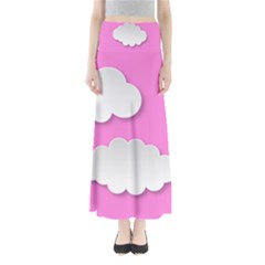 Clouds Sky Pink Comic Background Full Length Maxi Skirt
