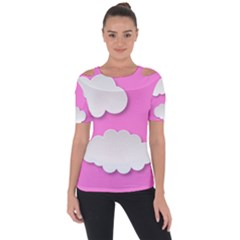 Clouds Sky Pink Comic Background Short Sleeve Top