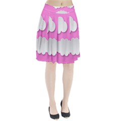 Clouds Sky Pink Comic Background Pleated Skirt