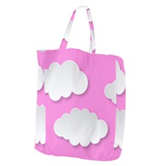 Clouds Sky Pink Comic Background Giant Grocery Zipper Tote