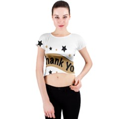 Thank You Lettering Thank You Ornament Banner Crew Neck Crop Top