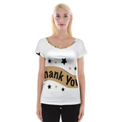 Thank You Lettering Thank You Ornament Banner Cap Sleeve Tops