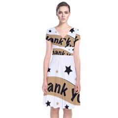 Thank You Lettering Thank You Ornament Banner Short Sleeve Front Wrap Dress