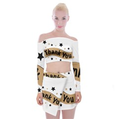 Thank You Lettering Thank You Ornament Banner Off Shoulder Top With Mini Skirt Set