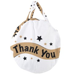 Thank You Lettering Thank You Ornament Banner Giant Round Zipper Tote by BangZart