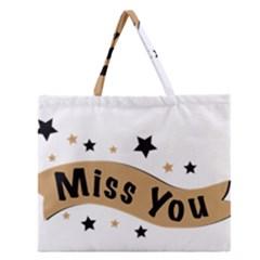 Lettering Miss You Banner Zipper Large Tote Bag