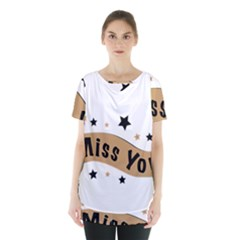 Lettering Miss You Banner Skirt Hem Sports Top by BangZart
