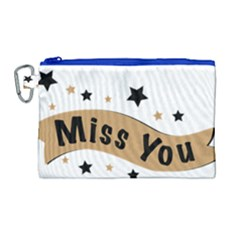 Lettering Miss You Banner Canvas Cosmetic Bag (large) by BangZart
