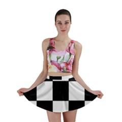 Grid Domino Bank And Black Mini Skirt