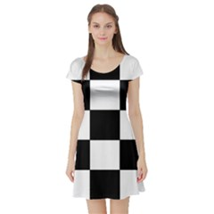 Grid Domino Bank And Black Short Sleeve Skater Dress