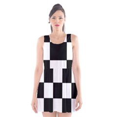 Grid Domino Bank And Black Scoop Neck Skater Dress