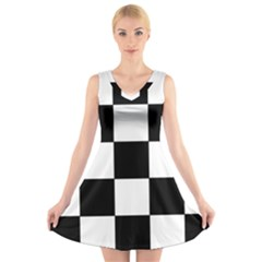 Grid Domino Bank And Black V Neck Sleeveless Skater Dress