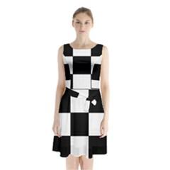 Grid Domino Bank And Black Sleeveless Waist Tie Chiffon Dress