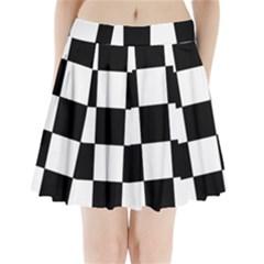 Grid Domino Bank And Black Pleated Mini Skirt