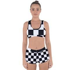Grid Domino Bank And Black Racerback Boyleg Bikini Set