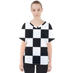 Grid Domino Bank And Black V Neck Dolman Drape Top