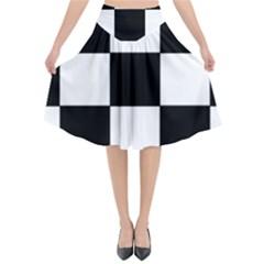 Grid Domino Bank And Black Flared Midi Skirt