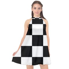 Grid Domino Bank And Black Halter Neckline Chiffon Dress