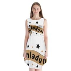 Einladung Lettering Invitation Banner Sleeveless Chiffon Dress