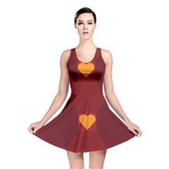 Heart Red Yellow Love Card Design Reversible Skater Dress