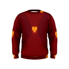 Heart Red Yellow Love Card Design Kids  Sweatshirt