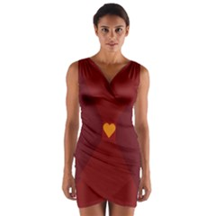 Heart Red Yellow Love Card Design Wrap Front Bodycon Dress