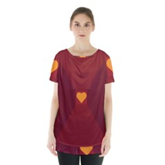Heart Red Yellow Love Card Design Skirt Hem Sports Top by BangZart