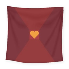 Heart Red Yellow Love Card Design Square Tapestry (large) by BangZart