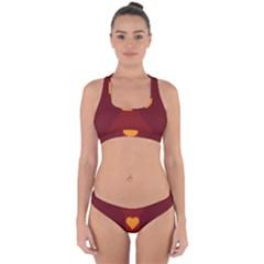 Heart Red Yellow Love Card Design Cross Back Hipster Bikini Set